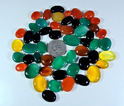 C21566O Natural Multi Onyx Cabochon Gemstone Lot 53Pcs. Oval 504Cts.