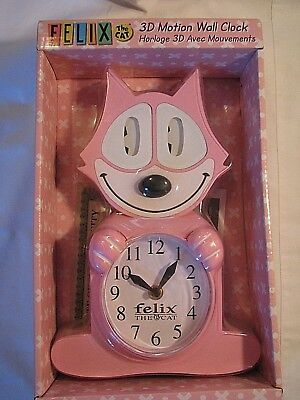 New - Pink Felix The Cat 3D Motion 17By7 2-Aa Batteries Wall Clock In Box