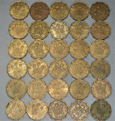 Great Britain Brass 3 Pence Lot of 30 Coins - King George VI