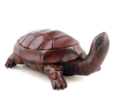 Boxwood Hand Carved Japanese Netsuke Sculpture Cute Turtle Looking Up #11261801
