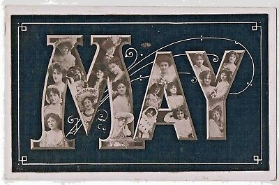 """Novelty - R/p - A Ladies Christian Name """"may"""" Made Up Of Edwardian Beauties,1905"""
