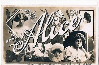 """Novelty - R/p - Ladies Christian Name """"alice"""" Made Up Of Edwardian Beauties,1905"""