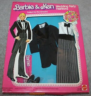 Vintage Barbie & Ken Wedding Party Fashions Suited For The Groom 1418 Nrfb
