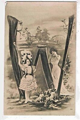 """Novelty - R/p - A Letter Of The Alphabet """"w"""" Made Up Of Edwardian Beauties,1904"""