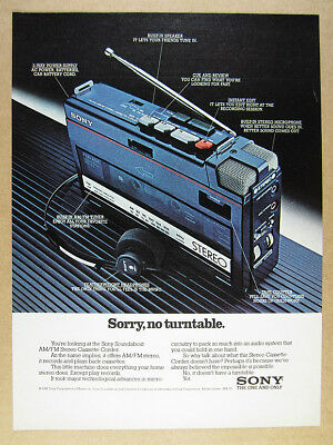 1982 Sony WA-55 Soundabout Stereo Cassette-Corder vintage print Ad