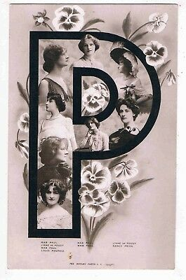 """Novelty - R/p - A Letter Of The Alphabet """"p"""" Made Up Of Edwardian Beauties,1906"""