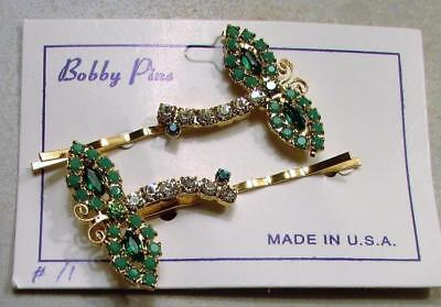 2 Vintage 60's Dragonfly Glass Crystal Rhinestone Bobby Pin Hair Clip Set Green
