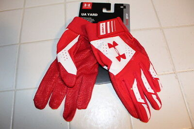 Under Armour Yard Mens Baseball Softball Batting Gloves Medium Pair Adult Red Nw