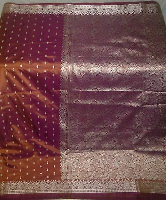 color change in light vintage Woven Fabric Pure SIlk Sari Saree Craft