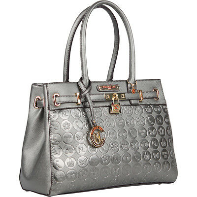 Nicole Lee Yasmin Engraved Satchel - Gun Metal