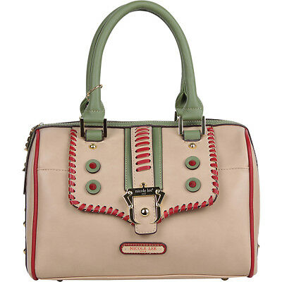 Nicole Lee Eleri Buckle Boston Shoulder Bag - Beige