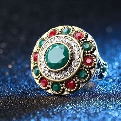 #8 Green Ancient Ring Bohemian Style Colorful Resin Bronze Ring