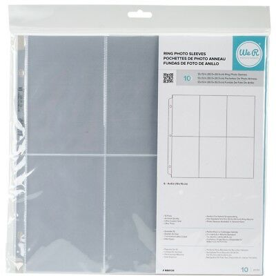 "We R Ring Photo Sleeves 12""x12"" 10/pkg-(6) 6""x4"" Pockets"