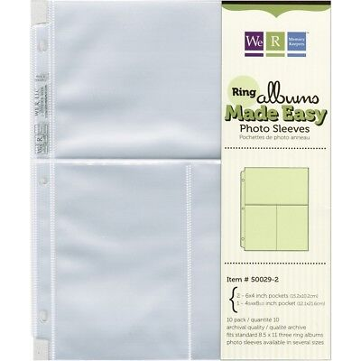 "We R Ring Photo Sleeves 8.5""x11"" 10/pkg-(2) 6""x4"" Pockets"