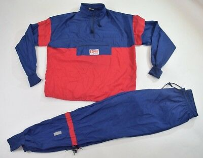 Vintage 90s Blue Red Full Shell Suit Tracksuit Top Jacket Bottoms Retro XXL