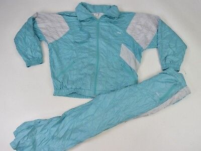 Vintage 90s Green Silver Full Shell Suit Tracksuit Top Jacket Bottoms Retro L