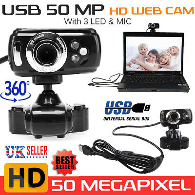 Full HD USB 50.0M Webcam Video Camera 360° Rotation with Mic for PC Laptop Skype