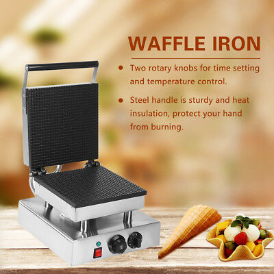 Electric Nonstick Squre Mold Waffle Iron Cone Maker Egg Roll Baker Machine ls