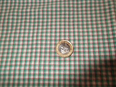 Length Of Unused  Genuine Vintage 1930/40's Green Gingham Check Fabric