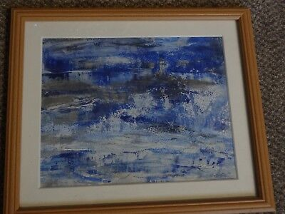 Sea and Lighthouse -  mixed media painting on cartridge paper. Framed. Signed