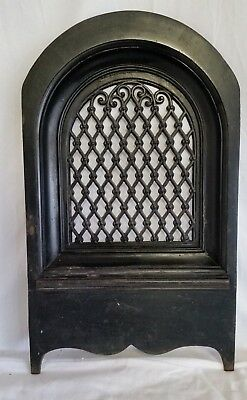 Antique Fancy Victorian Cast Iron Wall Grate,Register,Arch Top,Heat Ventilation