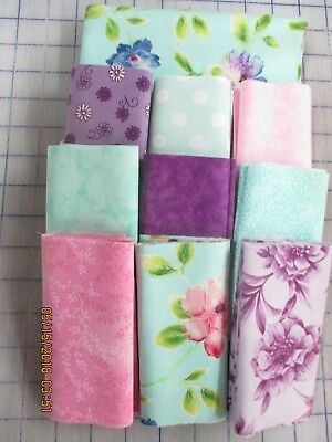 Awesome Floral In Mints, Pinks & Lilacs Disappearing 9 Patch Quilt Top Kit