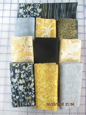 Awesome Metallic Gold, Black, Gray &  Cream Disappearing 9 Patch Quilt Top Kit