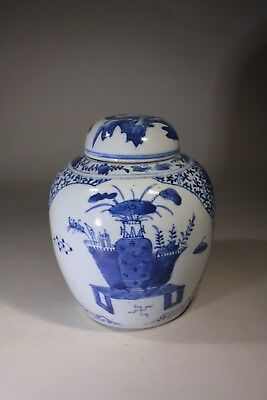 Antique Chinese Blue & White Porcelain Vase & Cover
