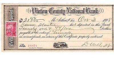 1898 VINTON COUNTY NATIONAL BANK 2036 CHECK w/ REVENUE STAMP$21.44 LOCOMOTIVE NR