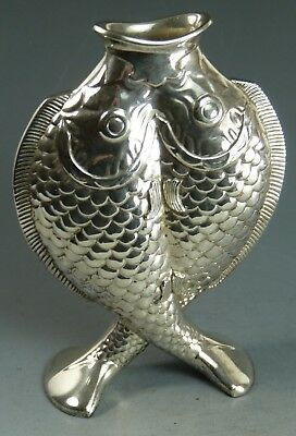 VINTAGE - CHRISTOFLE France - Silver Plated Fish Vase - Deux Poissons