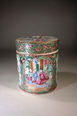 Antique Chinese Cantonese Porcelain Box & Cover