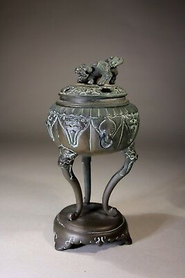 Antique Chinese Bronze Incense Burner Raised on Three Legs