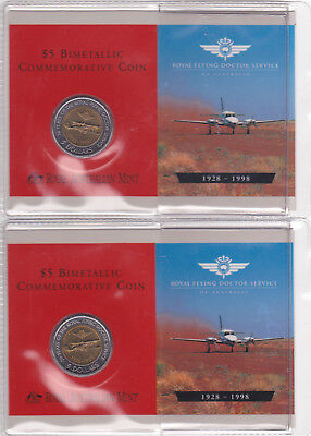 1998 RAM ROYAL FLYING DOCTOR SERVICE FIVE DOLLAR COIN UNCIRCULATED x 2