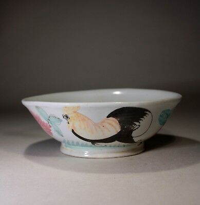 Antique Chinese Porcelain Cockerel Bowl 1800s No:2
