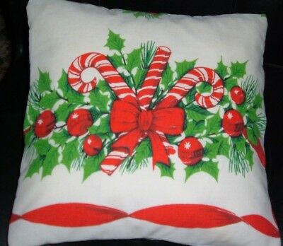 Vintage Christmas Tablecloth Pillow Sham Red Candy Canes