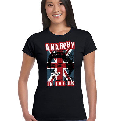 Anarchy in The UK Womens Punk Rock T-Shirt Union Jack Clash