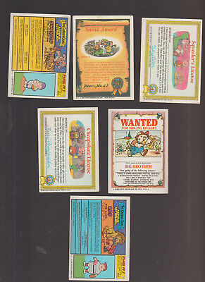 Lot of 6 Garbage Pail Kids trading cards Vintage 1988 Chow Mame Hairy Harriet