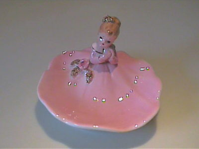Vintage Josef Originals Pink Girl Dresser Trinket Dish And Or Soap Dish