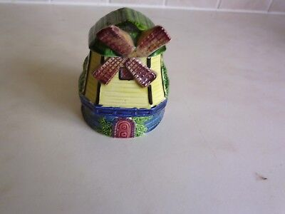 Small preserve pot, as a windmill Marutomoware. Made in Japan