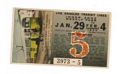 Los Angeles California Railway Ticket Pass Jan 29 - Feb 4 1950 Trolley Car Ride