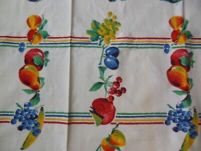 Vintage Harmony House Unused Red Blue Yellow Fruit Tablecloth 54 by 54