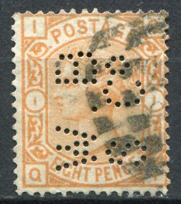 (324) VERY GOOD LIGHTLY USED SG156 QV 8d ORANGE PLATE 1 PERFIN
