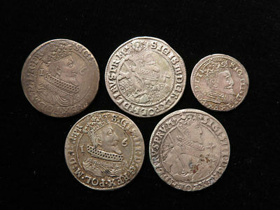 Collection of 5x Sigismund III Silver Coins of Poland-Lithuania & Danzig 17thC