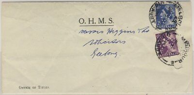 Australia - 1 + 2 1/2 P. Elizabeth/Perfin VG on OHMS cover from Melbourne 1957