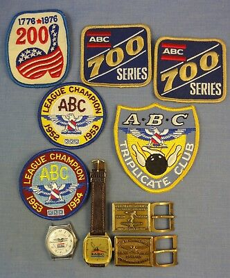 AMERICAN BOWLING CONGRESS (ABC) AWARDS; WATCHES, BUCKLES & PATCHES;1950's - 90's