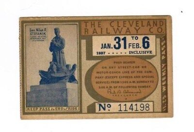 Cleveland Ohio Railway Transit Ticket Pass Jan 31 - Feb 6 1937 Milan R Stefanik