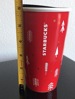 Starbucks Holiday 2018 Ceramic Tumbler Red Gnomes and Christmas Trees 12oz NEW