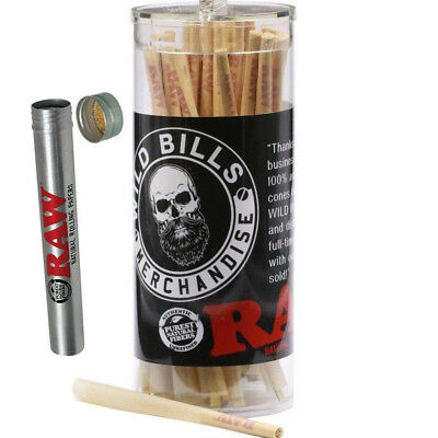 RAW Cones 98 Special  Pre-Rolled Cones w/ Filter (50 Pack) + RAW Aluminum Tube