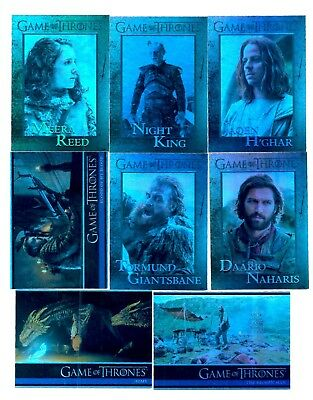 Lot Of 8 Game of Thrones Season 7 Foil Parallel Cards #s 5,16,21,52,53,58,69,88