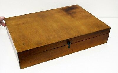 Large Vintage Wooden Box with Latch Closing Hinged Lid - 41 x 28 x 8cms. Useful